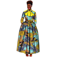 African Women 2-Piece V-Neck Print Top-Skirt Set Clothing  X11007