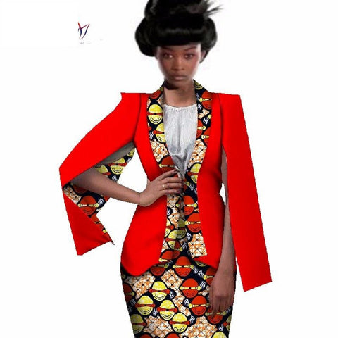 Africa Cotton 2-Piece Set Skirt-Suit Jacket Set for Women X10590