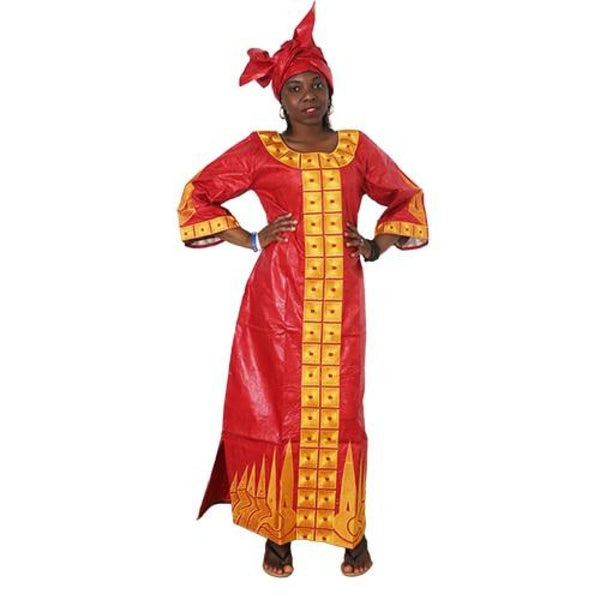 African Bazin riche Brocade Cotton dress with head scarf X21236