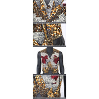 Men African Prints 3pc Set of Blazers-Suit Sleeveless-Vest Long-Pants Y10891