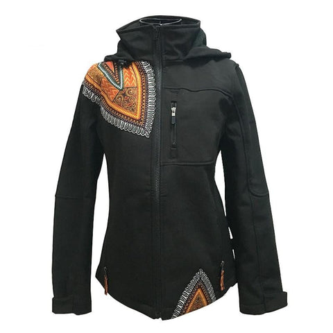 African Dashiki Patchwork Pattern Winter Mountain Jacket Coat for Women X10405