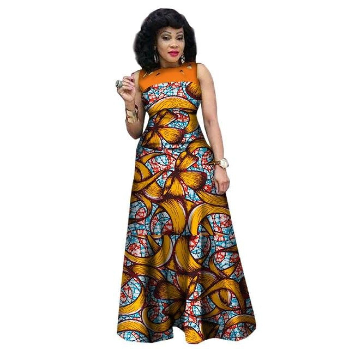 African Print Fashion: African Clothing Sleeveless Sexy Long Dress Women Cotton