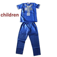 African Embroidered Cloth For Man and Son Custom Dashiki Top-Pants Set V21602
