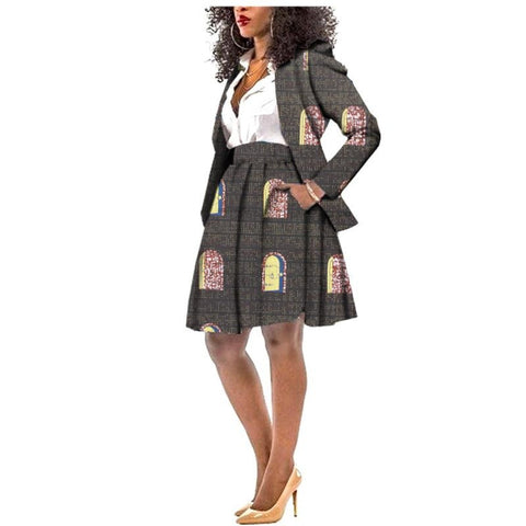 African Cotton Ankara Suit Full Sleeve Top+Knee Length Skirt Work Style X10583