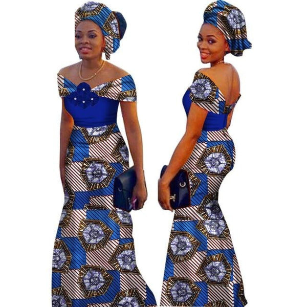 African Style Long Dress For Women Cotton Print Kitenge Ankara Custom X11393