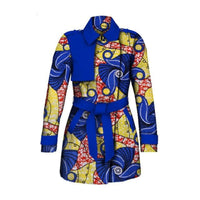 African ankara Trench Coat Outwear with Turn-down Collar  X10385