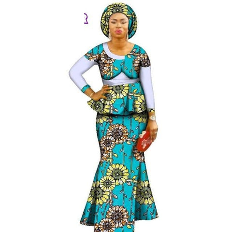 Kangs Print Ankara Modern African Dresses Women Skirt Set With X11381