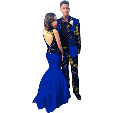 African Couples sleeveless dress for woman pants-suit for V11654