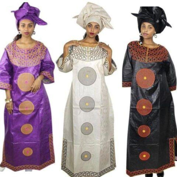 African Clothing For Women Bazin Riche Embroidery Long Dress Design with X21257