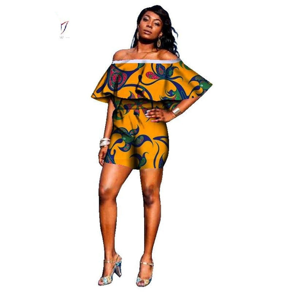 African Women Customized Jumpsuits Shorts Dashiki Print Clothing Trumpet X11520