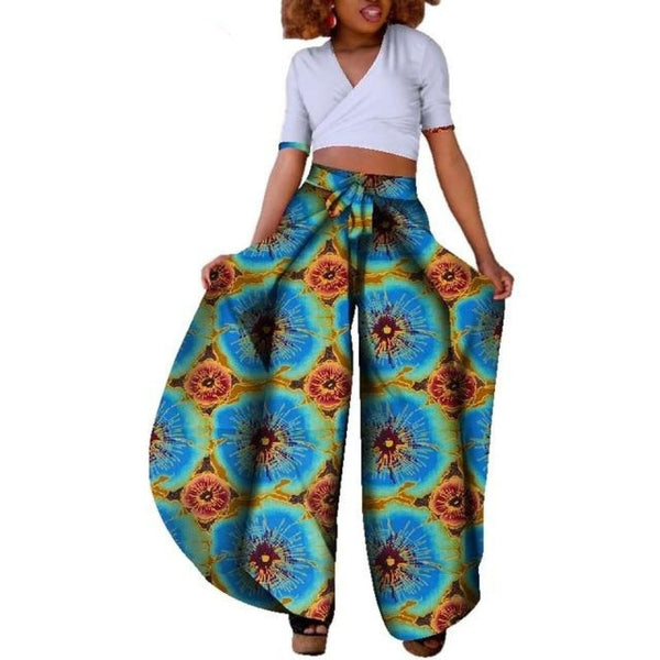 African Style 2pc Crop Top and Dashiki Print Pants Set  X10674