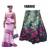 African Dress for Women Embroidered Bazin Lace Top and Skirt X30911