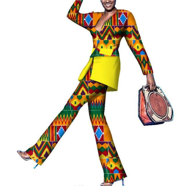 Dashiki African Print Patchwork Suit and Pants Sets for women X10677