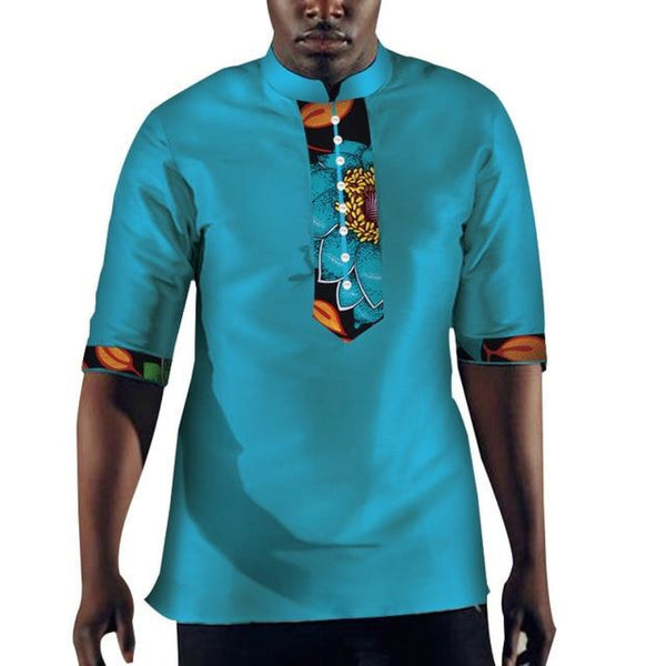 African Men Clothing Dashiki Bazin Riche Patchwork Top  Y10472