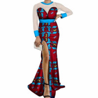 African Long Dress Sexy Side Slit Long Yarn Women Cotton Print  X11390