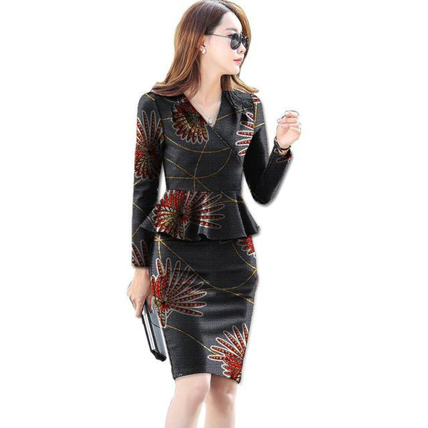 African Print Tops and Skirts 2-Piece Top-Skirt Set Women Suit Balzer X10591