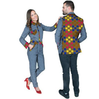 African Couples Clothing Wax Print Patchwork Women Jumpsuit Men  V11694