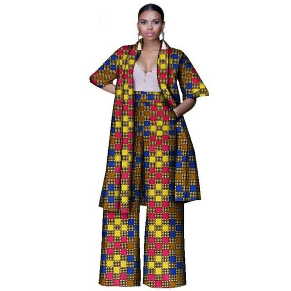 African women Cotton Wax Bazin Casual Long Top With Wide X10704