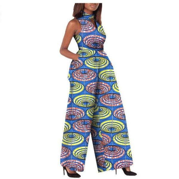 African Women Jumpsuit Sleeveless Ankle Length Wide Leg Pure 100% Cotton X11508