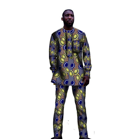 African Men Custom Clothing Top-Pants Set Ankara Kitenge Dashiki Cotton Y10825