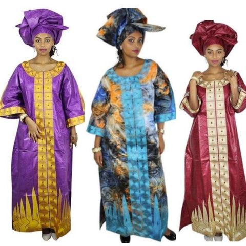 African Bazin Riche Clothing For Women Embroidery Design Long Dress  X21199