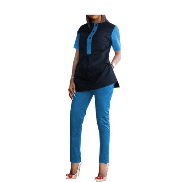 African Kitenge Dashiki Patchwork Cotton Women Shirt with Pants Set X10686