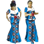 African Clothing For Women Dashiki Patchwork 2-Piece Top-Skirt Setflower X11031