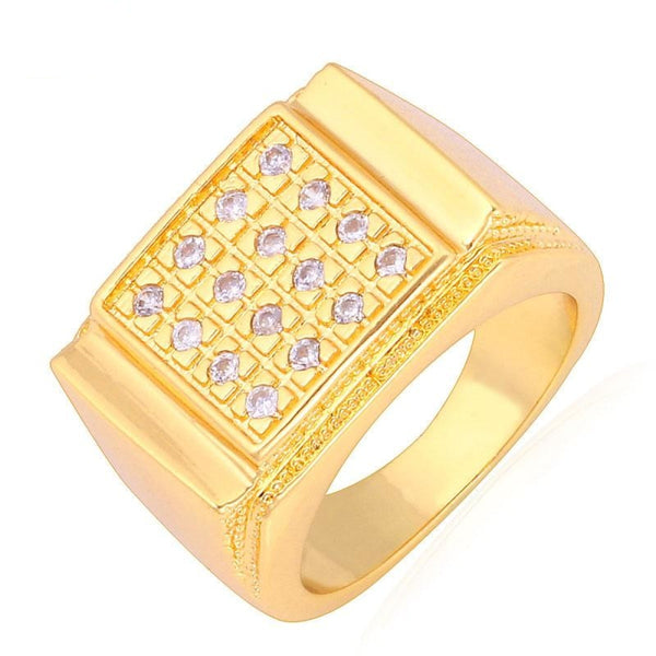 Men Jewelry Big Ring with Luxury Cubic Zirconia Gold Color Wedding/Party Q50139