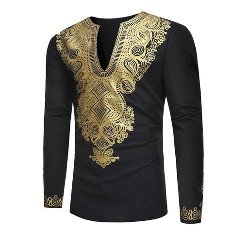 African Men Hipster V-Neck Dashiki Print Shirt Long Sleeve Top Homme Y10557