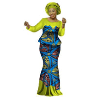 African Clothing Top and Long Skirt For Women Cotton Print Kitenge Ankara X11003