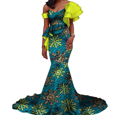 Vintage Vestidos Bazin Long Mermaid Dress Draped Patchwork African Print Dresses For Women African Ankara Clothing Wy3346 - 2 / Xs