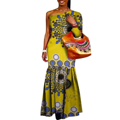 African Clothing Asymmetrical Dashiki Long Dress For Women Ankara Cotton X11395