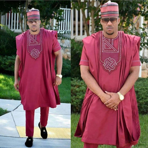African Clothing Men Dashiki Embroidery Bazin Burgundy Inner + Outer Top Y20785