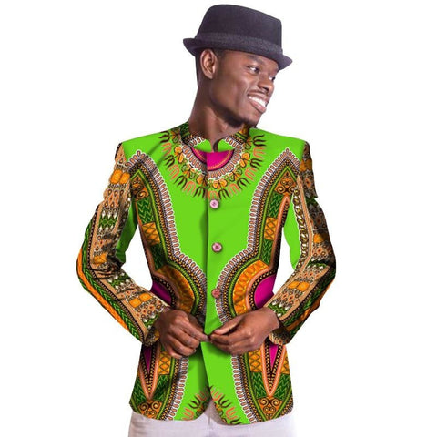african men Dashiki angelina single brested mandarin collar Blazer Suit Y10526