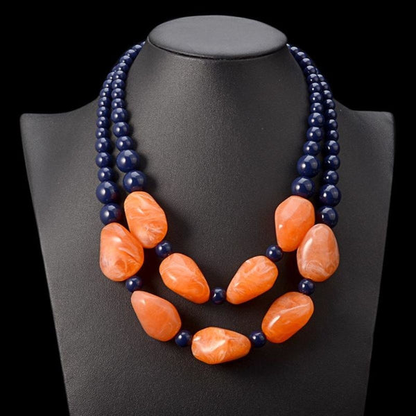 Bohemian Maxi Necklace Women Double Layer Beads Chain Resin Gem Vintage Q50205