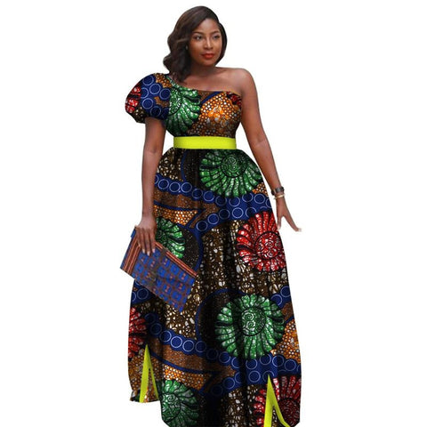 African Bazin Riche Print Dress For Women One-Shoulder Long Tutu Dress X11439