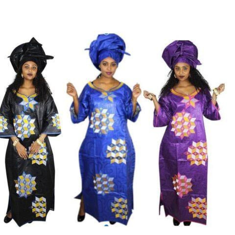 African Clothing For Women Bazin Embroidery Design Long Dress with X21270
