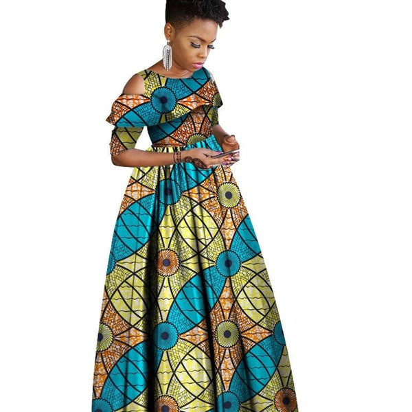 African Clothing Ruffles Collar Short Sleeve Long Dress Women Cotton X11420