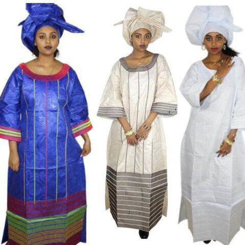 African Clothing For Women Embroidery Bazin Design Long Dress with Scarf X21260