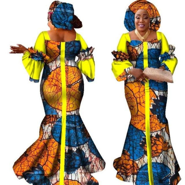 African Dress For Women New African Bazin Fashion Design Long Dress  X11446