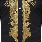 African Men Hipster Hip-Hop Dashiki Longline Stand Collar T-Shirt Top Y10552