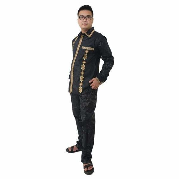 H&d African Man Kaftan Print Bazin Riche Dashiki Long Pants Long Sleeves For Work 100% Cotton Comfortable Material Kc39