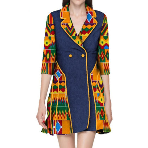 African Dashiki traditional Batik Patchwork Trench Coat for Women X10434