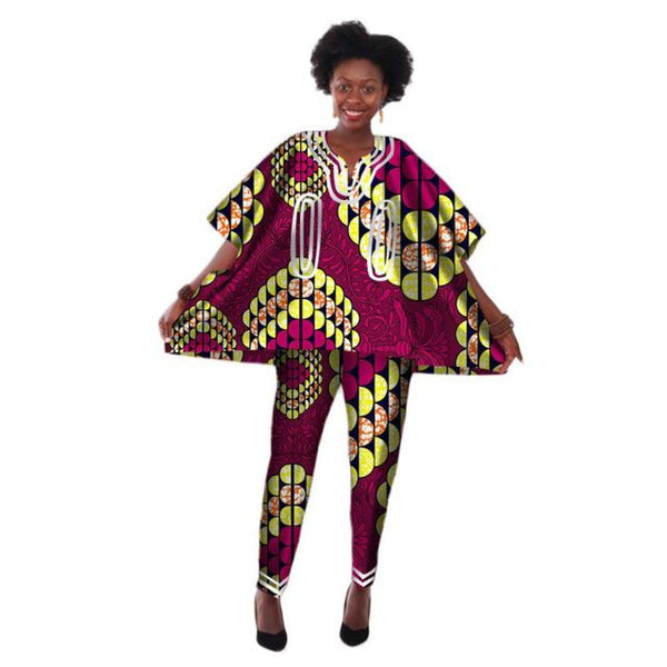 Ankara Traditional African Dashiki Style Top-Pants Sets For Women X10695