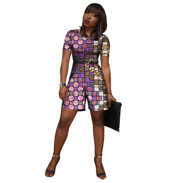 African Wax Print Women Clothing Short Jumpsuit Dashiki Fashion Short X11528