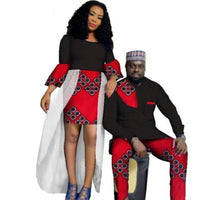 African Style Clothing Couple Man Shirt-Pnts Woman Bazin Dress Dashiki V11672
