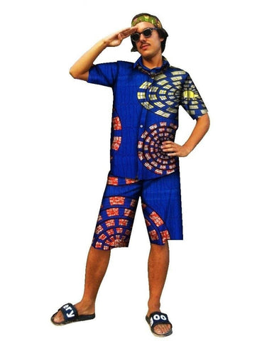 Custom Hawaiian Style Dashiki Men Short Sleeve Shirt+Knee Length Shorts Y10578