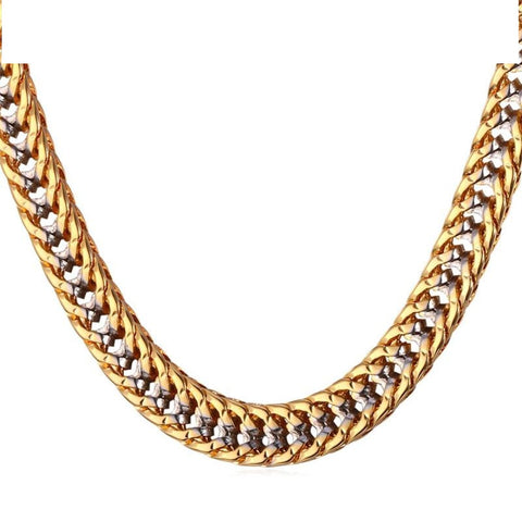 Chain Necklace Men Gift Two Tone Gold Color Collier Vintage  Q50132