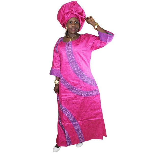 African Bazin Clothing For Women Embroidery Dashiki Dress Long  X21258