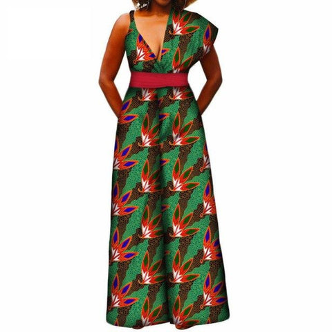 African Design Print Women Jumpsuit V-Neck Asymmetrical Shoulder Wide X11502